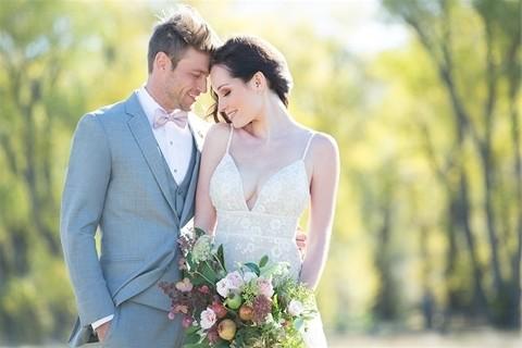 Allure Bridals 9526 top half with groom