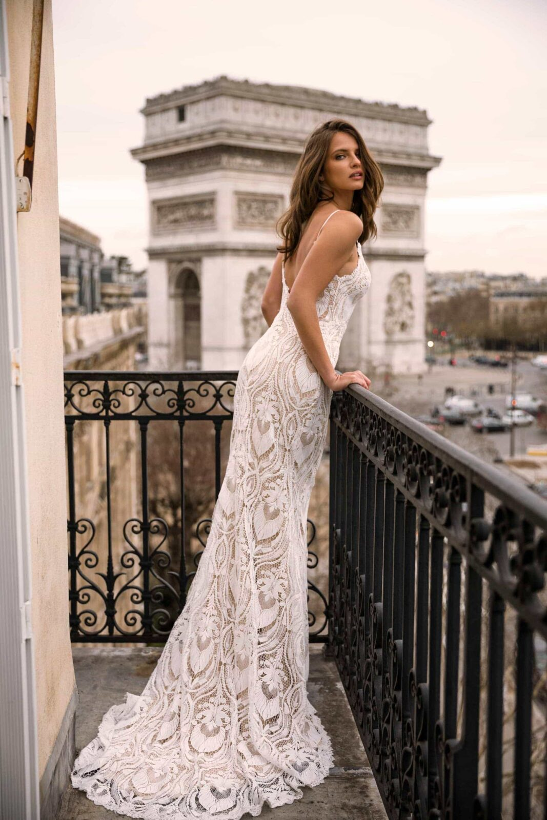 INDIA ML4119 FULL LACE FITTED GOWN WITH SPAGHETTI STRAPS AND DETACHABLE OFF SHOULDER FLUTTER SLEEVES WEDDING DRESS MADI LANE BRIDAL6