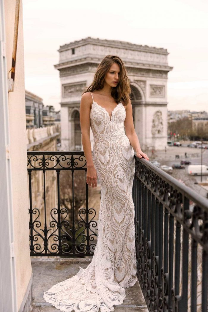 INDIA ML4119 FULL LACE FITTED GOWN WITH SPAGHETTI STRAPS AND DETACHABLE OFF SHOULDER FLUTTER SLEEVES WEDDING DRESS MADI LANE BRIDAL7