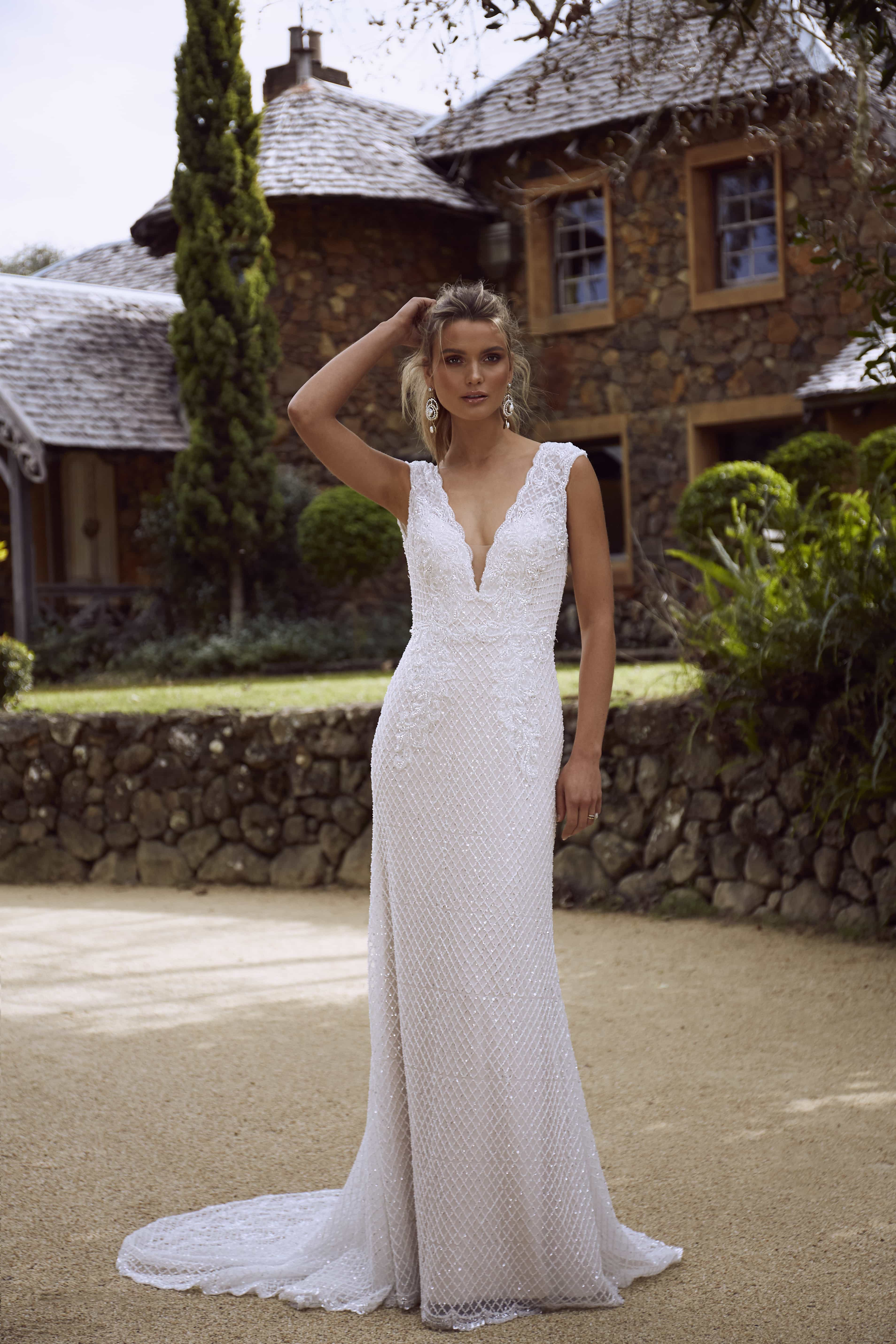 RYLAN ML4218 FULLY BEADED EMBELLISHED V NECK OPEN BACK SHEATH COLUMN WEDDING DRESS MADI LANE LUXE LUV BRIDAL 3