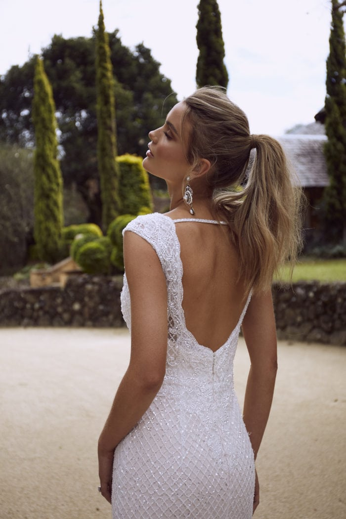 RYLAN ML4218 FULLY BEADED EMBELLISHED V NECK OPEN BACK SHEATH COLUMN WEDDING DRESS MADI LANE LUXE LUV BRIDAL 7