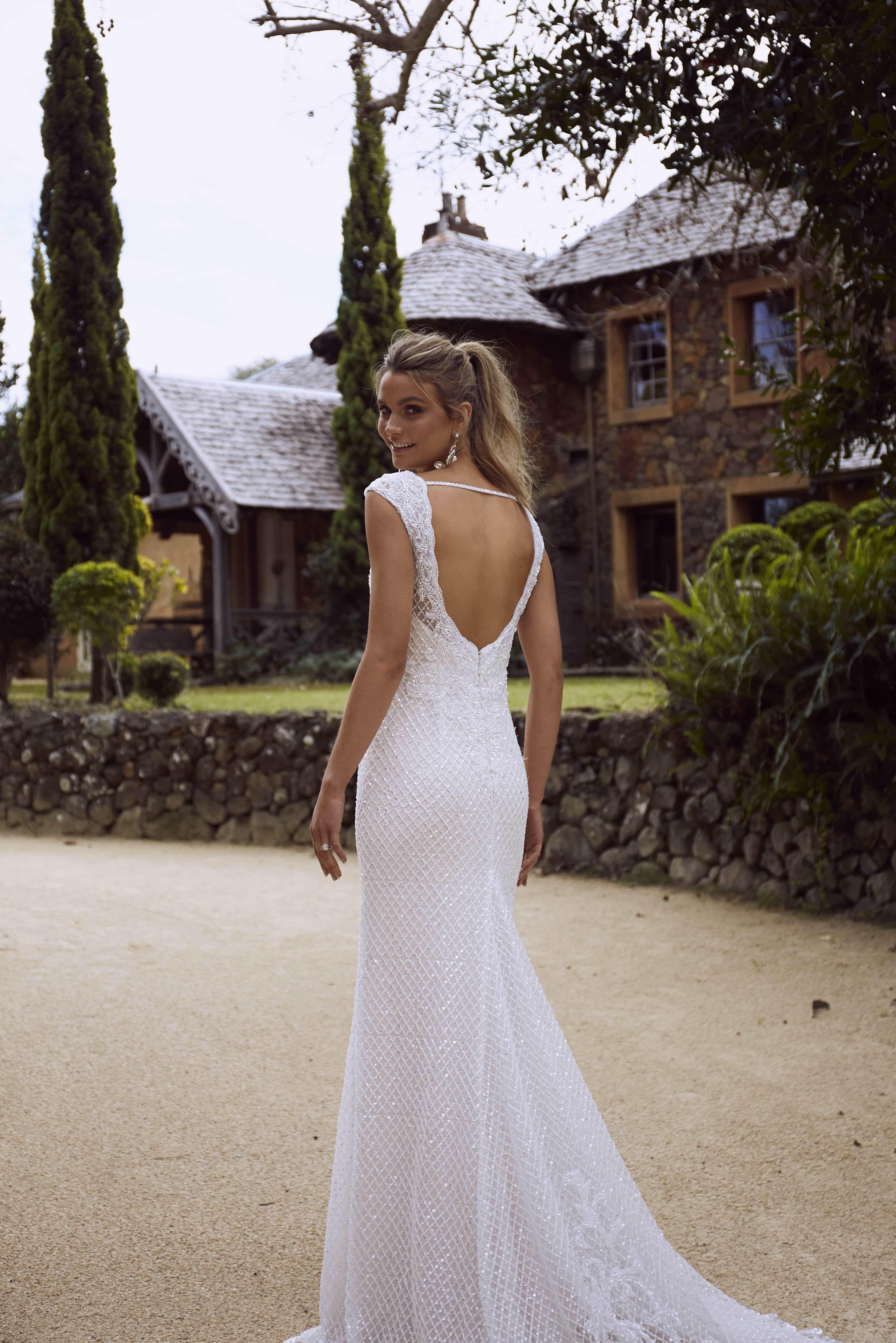 RYLAN ML4218 FULLY BEADED EMBELLISHED V NECK OPEN BACK SHEATH COLUMN WEDDING DRESS MADI LANE LUXE LUV BRIDAL 8