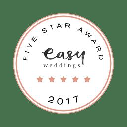 Easy Weddings Badge Award Five Star 2015